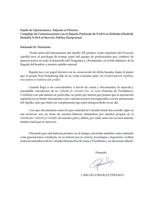Foto de Carta de apoyo Carlos González Pintado