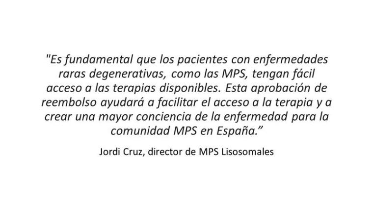 Foto de Cita de Jordi Cruz, director de MPS Lisosomales